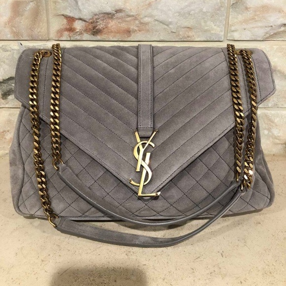 dbbc9b5579e08 Saint Laurent YSL Kate Large Grey Suede Quilted
